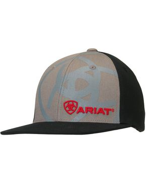 Ariat Boys' Logo Embroidery & Screen Print Cap, Grey, hi-res