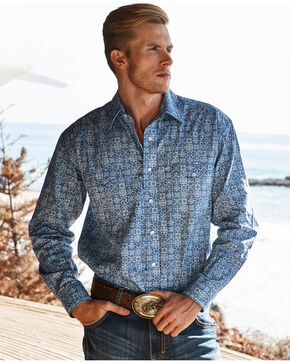 Panhandle Men's Double Pocket Printed Long Sleeve Shirt, Blue, hi-res