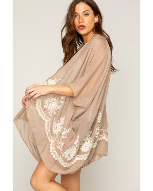 Shyanne Women's Sand Embroidered Scarf, Sand, hi-res