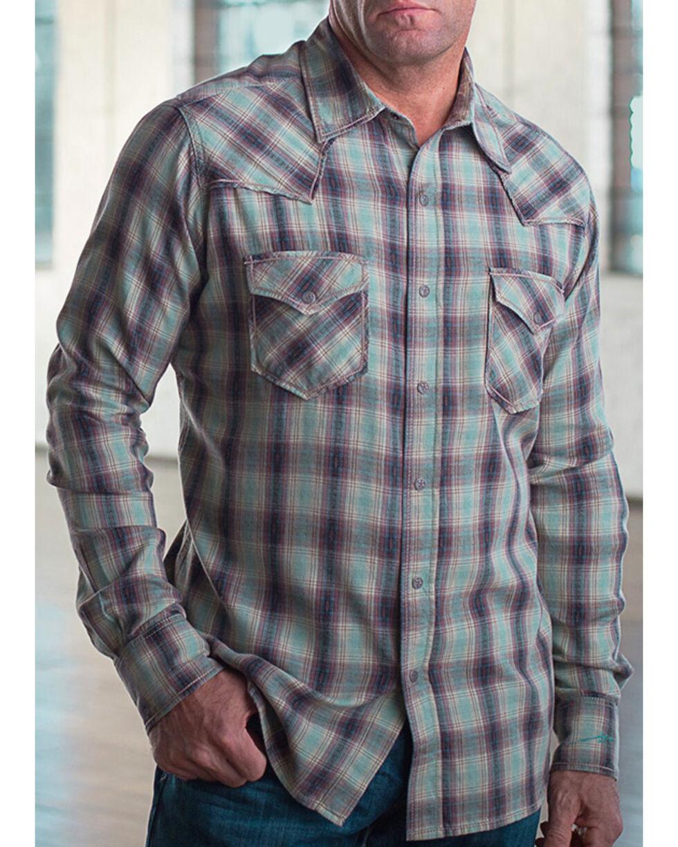 Ryan Michael Men's Vintage Dobby Plaid Shirt, Sage, hi-res
