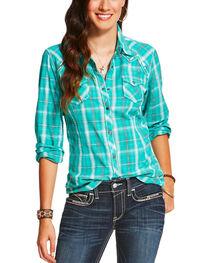 Ariat Women's Plaid Printed Long Sleeve Shirt, , hi-res