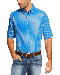Ariat Men's Blue Irvine Short Sleeve Shirt , , hi-res