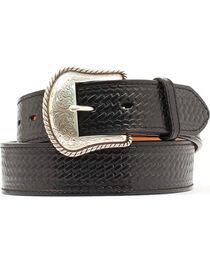 Double S Basketweave Embossed Leather Belt - Big, , hi-res