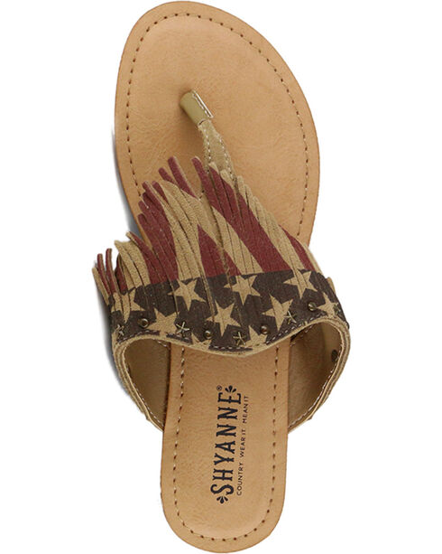 Shyanne® Women's USA Fringe Sandals, Red/white/blue, hi-res