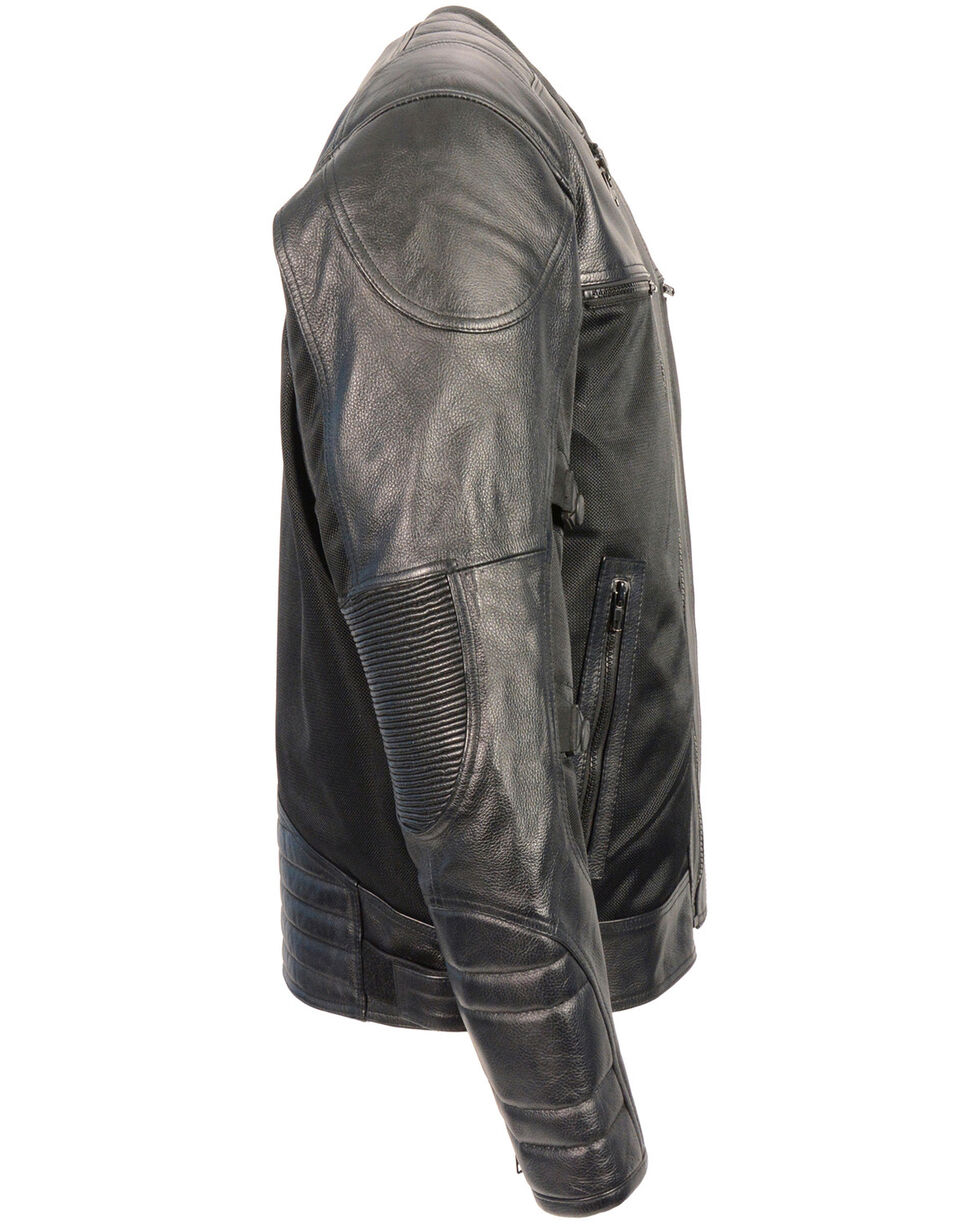 Milwaukee Leather Men's Black Leather & Mesh Racer Jacket with Removable Rain Jacket Liner, Black, hi-res