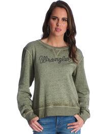 Wrangler Women's Olive Logo Fleece Crew Top , , hi-res