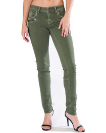 Grace in LA Women's Green Moto Jeans - Skinny , , hi-res