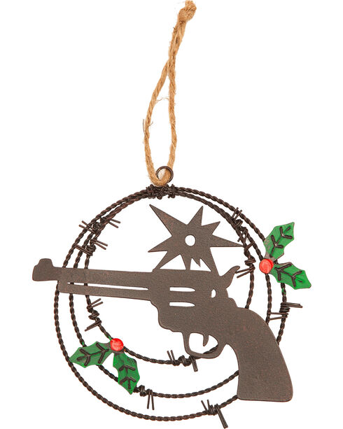 BB Ranch Laser Cut Pistol Barbed Wire Ornament, No Color, hi-res