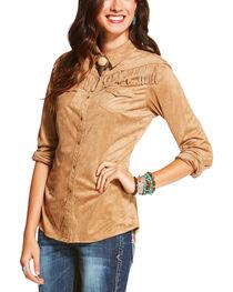 Ariat Women's Shasta Fringe Trim Long Sleeve Snap Shirt, , hi-res