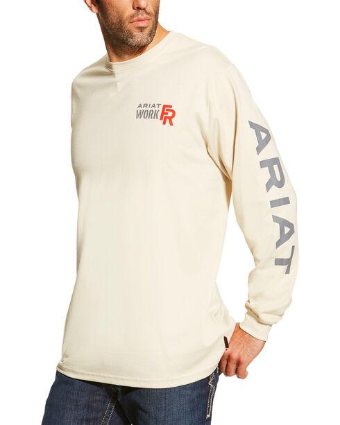 Ariat Men's Sand FR Logo Crew Neck Long Sleeve Shirt - Big, Sand, hi-res
