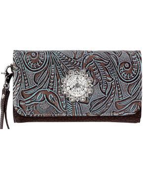 Blazin' Roxx Floral Rhinestone Wallet, Brown, hi-res