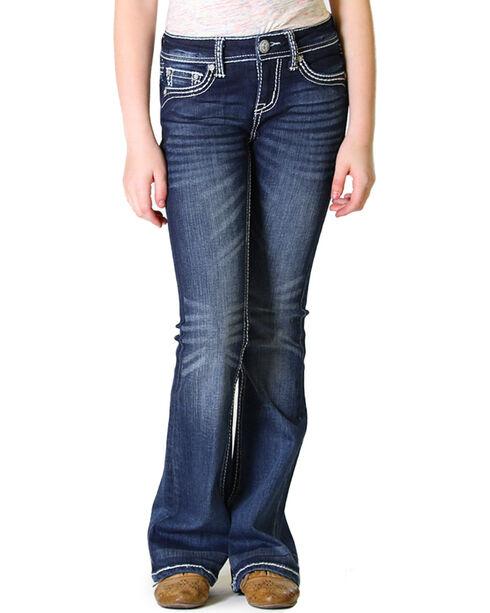 Grace in LA Girls' Dark Wash Fancy Flap Pocket Bootcut Jeans , Indigo, hi-res