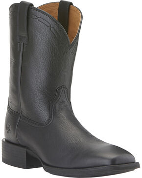 Ariat Men's Heritage Roper Wide Square Toe Western Boots, Black, hi-res