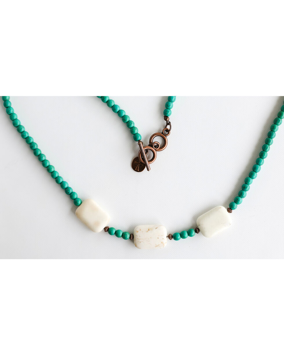 West & Co. Women's Turquoise and Ivory Bead Necklace, Turquoise, hi-res