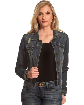 Boom Boom Jeans Women's Distressed Denim Jacket, Blue, hi-res