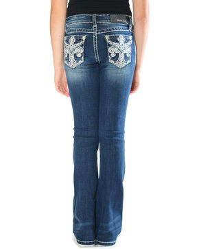 Grace in LA Girls' Indigo Cross Pocket Jeans - Boot Cut , Indigo, hi-res