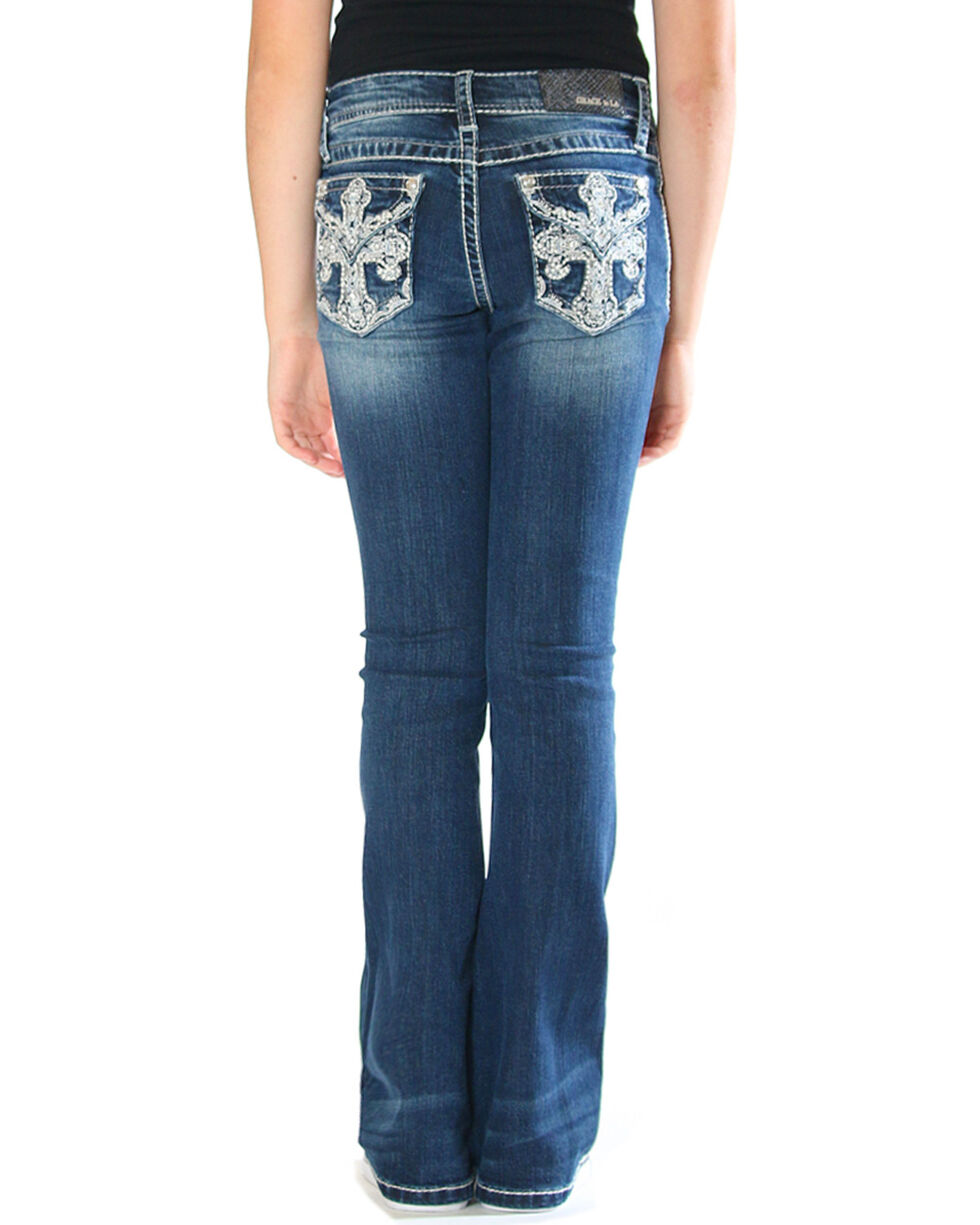 Grace in LA Girls' Cross Pocket Jeans - Boot Cut , Indigo, hi-res