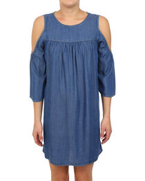 Glam Women's Tencel Cold Shoulder Dress , , hi-res