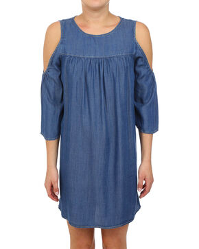 Glam Women's Tencel Cold Shoulder Dress , Indigo, hi-res