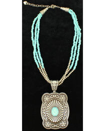 Blazin Roxx 3-Strand Turquoise Beads Pendant Necklace, , hi-res