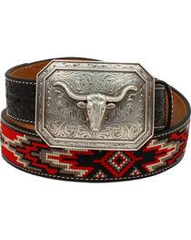 Ariat Men's Starburst Longhorn Fabric Belt , , hi-res