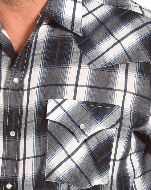 Ely Cattleman Men's Textured Plaid Long Sleeve Snap Shirt, White, hi-res