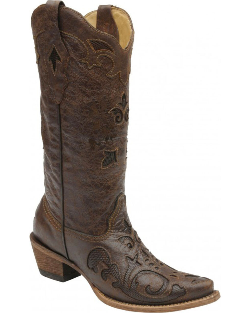 Corral Women's Vintage Lizard Inlay Western Boots, Chocolate, hi-res