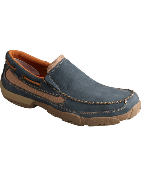 Twisted X Men's Low Lace-Up Driving Mocs, Blue, hi-res