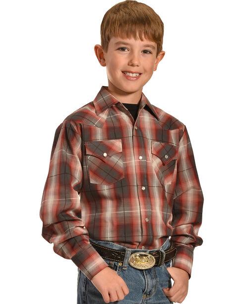 Ely Cattleman Boys' Dobby Plaid Western Shirts, Red, hi-res