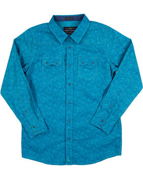 Cody James® Boys' Paisley Long Sleeve Shirt, Turquoise, hi-res