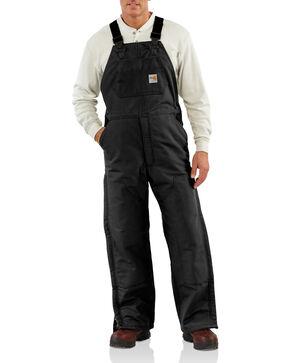 Carhartt Men's Flame-Resistant Duck Quilt-Lined Bib Overalls, Black, hi-res