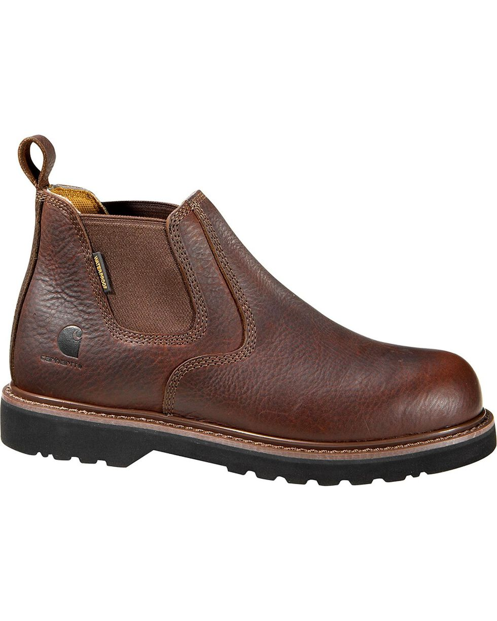 """Carhartt 4"""" Twin Gore Romeo Work Shoes - Safety Toe, Dark Brown, hi-res"""