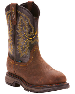 Ariat Men's Brown Workhog XT Pull-On H20 Boots - Round Toe , Brown, hi-res