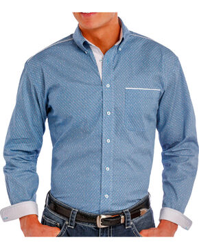 Rough Stock Men's Printed Long Sleeve Shirt, Turquoise, hi-res