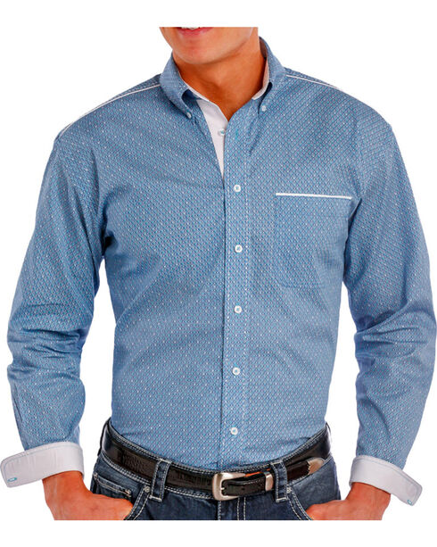 Rough Stock Men's Printed Long Sleeve Shirt, Turquoise, hi-res