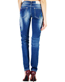 Grace in LA Women's Floral Embroidery Skinny Jeans, , hi-res