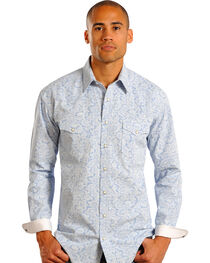 Panhandle Rough Stock Men's Paisley and Checks Long Sleeve Shirt, , hi-res