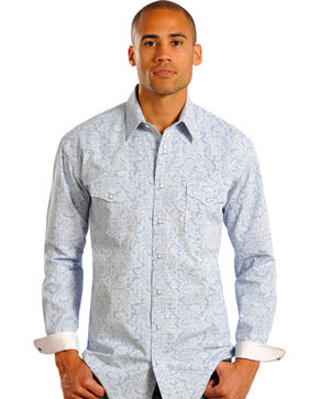 Panhandle Rough Stock Men's Paisley and Checks Long Sleeve Shirt, Print, hi-res