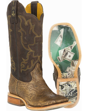 Tin Haul Blue Hawaii Cowboy Boots - Square Toe , Tan, hi-res