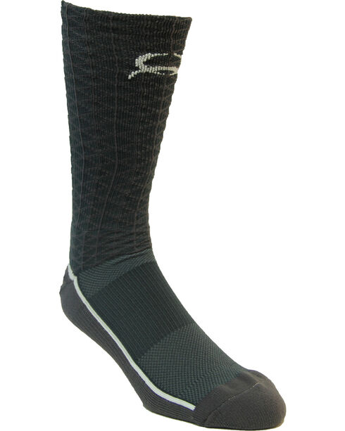 Cinch Men's Charcoal Mesh Crew Socks , Charcoal, hi-res