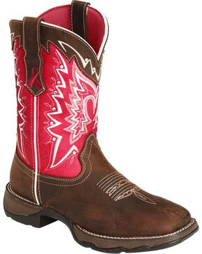 Durango Women's Pink Ribbon Lady Rebel Western Boots, Distressed, hi-res