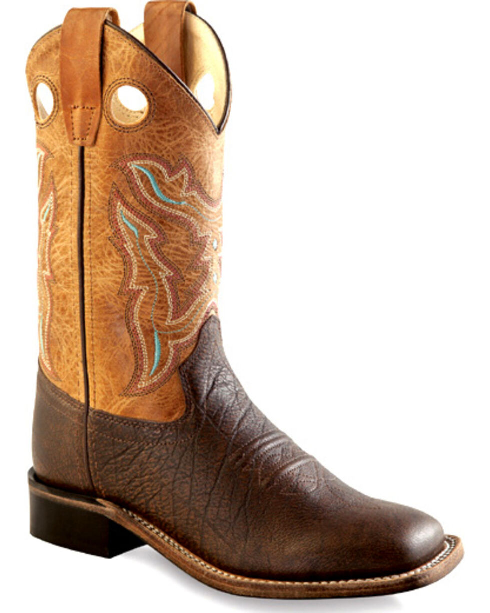 Old West Boys' Youth Brown Cowboy Boots - Square Toe , Brown, hi-res