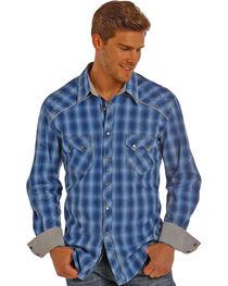 Rock & Roll Cowboy Men's Blue Satin Ombre Plaid Shirt , , hi-res