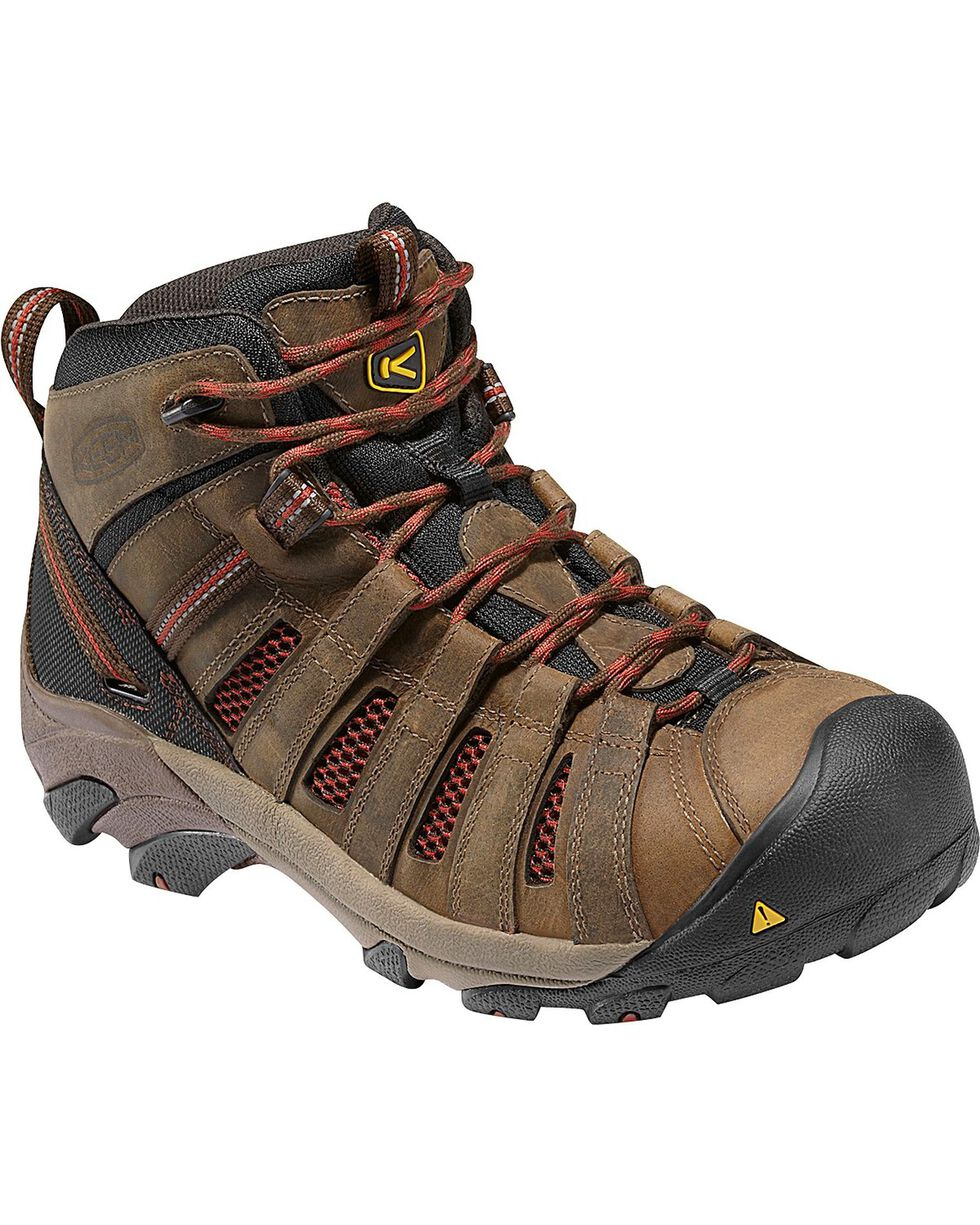 Keen Men's Flint Steel Toe Work Boots, Henna, hi-res