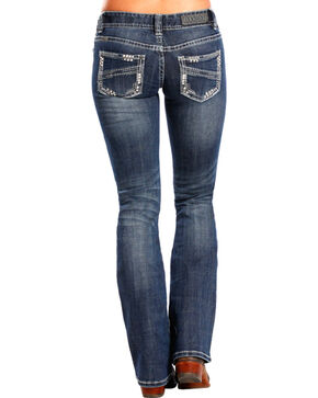 Rock & Roll Cowgirl Women's Medium Wash Low Rise Boot Cut Jean, Indigo, hi-res