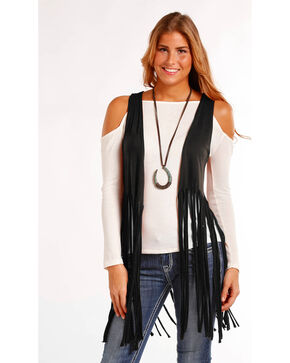 Panhandle Women's Solid Fringe Hem Vest , Black, hi-res