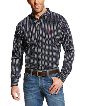 Ariat Men's FR Stark Geo Print Work Shirt, Multi, hi-res
