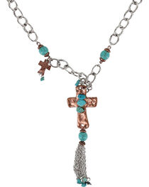 Shyanne® Women's Rose Gold and Turquoise Cross Necklace, , hi-res