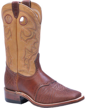 "Boulet Men's 12"" Wide Square Toe Saddle Vamp Boots, Cognac, hi-res"