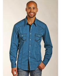 Rock & Roll Cowboy Men's Turquoise Heavy Stitched Western Shirt , , hi-res